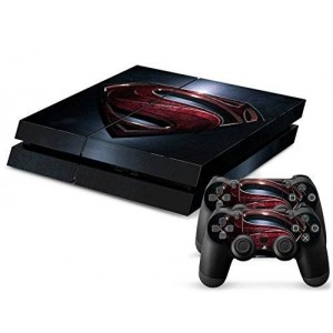 CloudSmart Vinyl Decal Protective Skin Cover Sticker for Sony PS4 Console And 2 Dualshock Controllers - Superman Logo