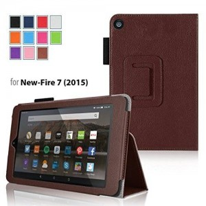 "Case for Fire 7 - Elsse Premium Folio Case with Stand for the NEW Fire, 7"" Display (Sept, 2015 Release) - Brown"