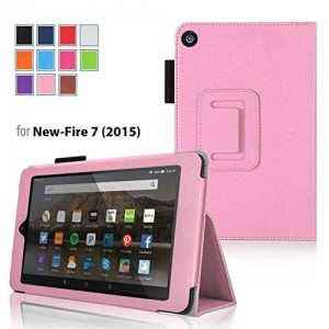 """Case for Fire 7 - Elsse Premium Folio Case with Stand for the NEW Fire, 7"""" Display (Sept, 2015 Release) - Light Pink"""
