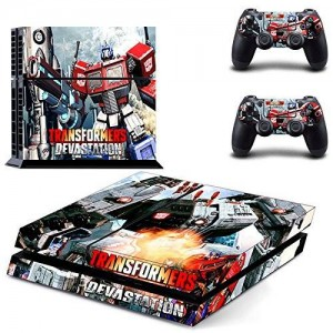 Beyone Vinyl Decal Protective Skin Cover Sticker for Sony PS4 Console And 2 Dualshock Controllers - Transformers: Devastation