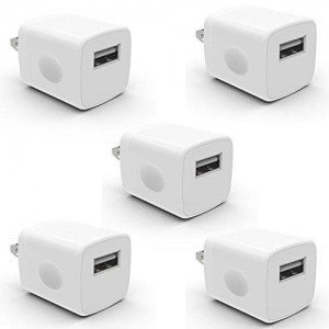 5 Pack PowerJive USB AC Universal Power Home Wall Travel Charger Adapter for Apple iPhone 3 4 4S 5 5c 5s 6 6s Plus iPod Touch Nano (5 Pack - White)