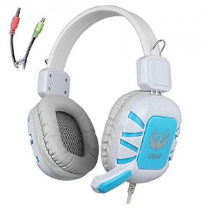 AFUNTA G1 Stereo Headset 3.5mm plug Over Ear Wired Stereo Headset Gaming Headphone Bass Noise Canceling with Microphone for PC Gaming - white