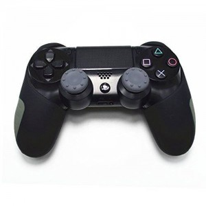GOOOD PlayStation 4 Soft Silicone Thicker Half Skin Cover for Ps4 Controller Set (Black Skin X 1 + Thumb Grip X 2)