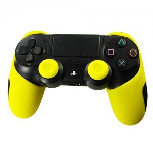 GOOOD PlayStation 4 Soft Silicone Thicker Half Skin Cover for Ps4 Controller Set (Yellow Skin X 1 + Thumb Grip X 2)