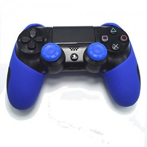 GOOOD PlayStation 4 Soft Silicone Thicker Half Skin Cover for Ps4 Controller Set (Blue Skin X 1 + Thumb Grip X 2)