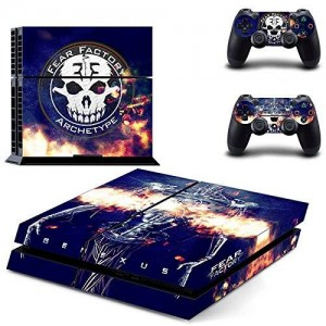 Beyone Vinyl Decal Protective Skin Cover Sticker for Sony PS4 Console And 2 Dualshock Controllers - Fear Factory