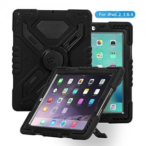 Ipad case, Afranker Ipad 2 case, Ipad 3 case, Ipad 4 Case Plastic Kid Proof Extreme Duty Dual Protective Back Cover with Kickstand Black