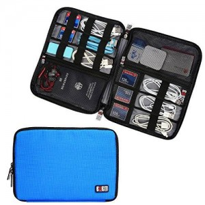 BUBM Travel Gear Organizer / Electronics Accessories Bag / Phone Charger Case (Large, Blue)