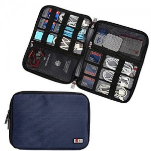 BUBM Travel Gear Organizer / Electronics Accessories Bag / Phone Charger Case (Large, Dark Blue)