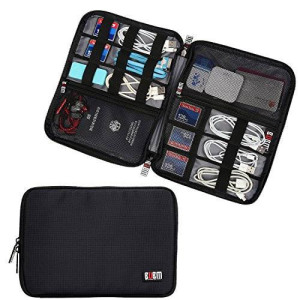BUBM Travel Gear Organizer / Electronics Accessories Bag / Phone Charger Case (Large, Black)