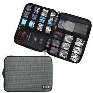 BUBM Travel Gear Organizer / Electronics Accessories Bag / Phone Charger Case (Large, Gray)