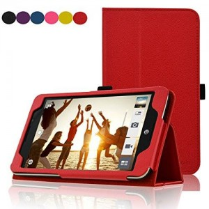 ASUS MeMO Pad 7 LTE Case - ACdream Premium PU Leather Smart Cover Case for ATandT ASUS MeMo Pad 7 LTE GoPhone Prepaid Tablet ME375CL , Red