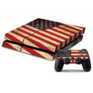 CloudSmart PVC Protection Decal Skin Cover Case Sticker For PS4 Playstation 4 Console x1 and Controllers x2 - USA FlagandStatue Of Liberty