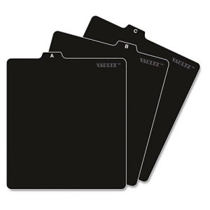 Vaultz A to Z CD and DVD Storage File Guides, 26 Guides per Box, Black (VZ01176)