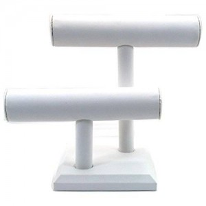 FindingKing 2 Tier White Leather T-Bar Bracelet Watch Jewelry Display Stand