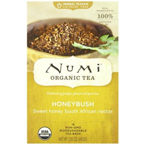 Numi Organic Tea Honeybush, Herbal Teasan, 18 Count Tea Bags