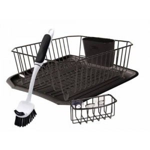 Rubbermaid Antimicrobial Sink Dish Drainer Set, Black, 4-Piece Set (FG1F91MABLA)