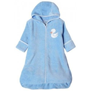 Spasilk 100% Cotton Terry /Velour Hooded Bath Bag with Zipper Front, 0-6 Months, Blue