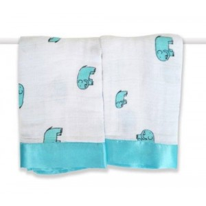 aden   anais aden + anais 2 Pack Muslin Issie Security Blanket, Declan Elephant (Previous Model) (Discontinued by Manufacturer)