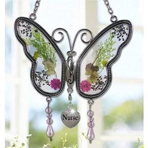 Banberry Designs Nurse Butterfly Suncatcher - Pressed Flower Wings - Gifts for Nurses - Nurse Practitioners - Nurse Gifts - Nurse Graduation Gifts