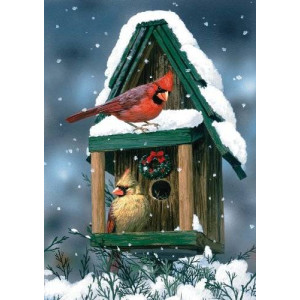 Toland Home Garden Cardinals in Snow 12.5 x 18-Inch Decorative USA-Produced Garden Flag