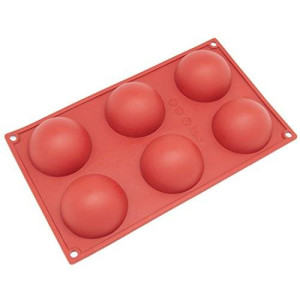 Freshware SL-100RD 6-Cavity Half Circle Silicone Mold for Making Delicate Chocolate Desserts, Ice Cream Bombes, Cakes, Soap, Resin Items, and More