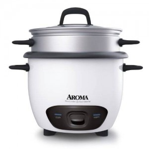 Aroma 6-Cup (Cooked) (3-Cup UNCOOKED) Pot Style Rice Cooker and Food Steamer (ARC-743-1NG)