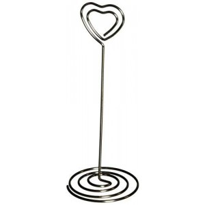 """Displays2go 4.5"""" Place Card Photo Holder Clips, Heart-Shaped for Wedding Banquet, Set of 50 (RNDWRHRT)"""