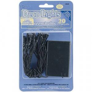 Darice Deco Lights Battery Operated Teeny Bulbs with Green Cord (20 Bulbs), Multicolored