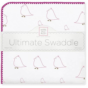 SwaddleDesigns Ultimate Receiving Blanket, Mama and Baby Chickies, Bright Pink