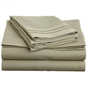 Lamma Loe's Silky Soft Luxurious Supreme Microfiber 4-Piece Sheet Set with Embroidered Pillow Cases, Queen, Sage Green