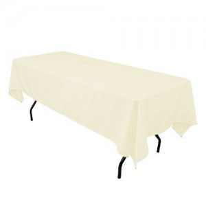 LinenTablecloth 60 x 102-Inch Rectangular Polyester Tablecloth Ivory
