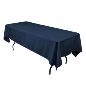 LinenTablecloth 60 x 102-Inch Rectangular Polyester Tablecloth Navy Blue