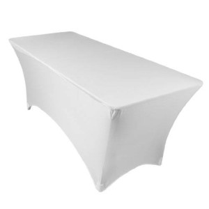 LinenTablecloth 6 ft. Rectangular Stretch Tablecloth White