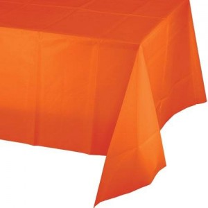 Creative Converting Touch of Color Plastic Table Cover, 54 by 108-Inch, Sunkissed Orange