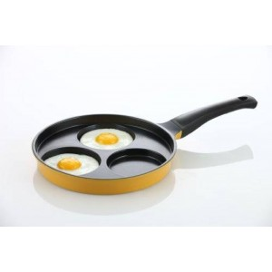 """Amore Kitchenware Flamekiss 9.5"""" Orange Ceramic Coated Nonstick 3-Cup Egg Cooker Pan by Amorè"""