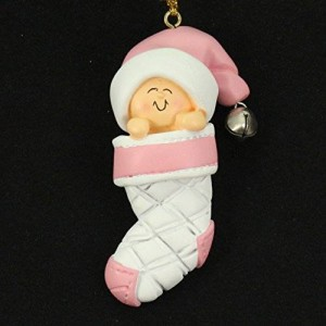 Ornament Central Baby's First Christmas Pink Girl in Stocking Christmas Tree Ornament