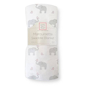 SwaddleDesigns Marquisette Swaddling Blanket, Elephant and Chickies, Pastel Pink
