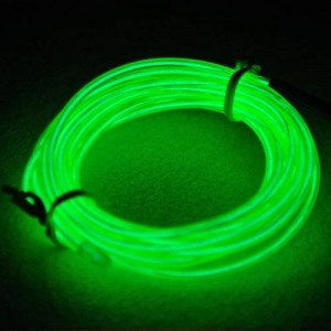 RioRand 15ft Neon Light El Wire w/ Battery Pack for Parties, Halloween Decoration (Green)