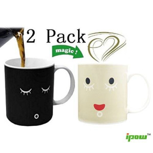 Ipow Magic Morning Mug Coffee Tea Milk Hot Cold Heat Sensitive Color-changing Mug Cup,set of 2