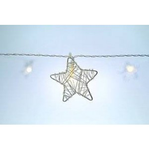 Britta Products Festive Metal Star String Lights - Indoor Plug-In Lights - 30' Length - 30 Metal Stars / Warm White LEDs - Christmas and Weddings