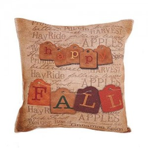 """Createforlife New Home Decorative Cotton Linen Square Happy Fall Vintage Letters Printed Pillow Case Cushion Cover 18"""""""