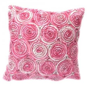 Oops!! (Single) Two Tone 3d Bouquet of Pink Roses Throw Cushion Cover/pillow Sham Handmade By Satin and Thai Silk for Decorative Sofa