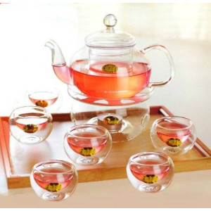 Kendal 27 oz glass filtering tea maker teapot with a warmer and 6 tea cups CJ-800ml