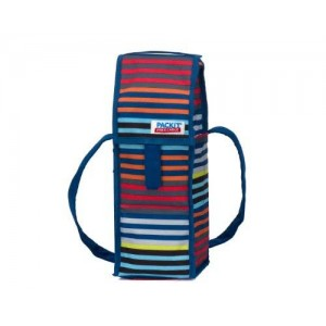PackIt Freezable Wine Cooler Bag with Zip Closure, Single Bottle, Cali Stripes