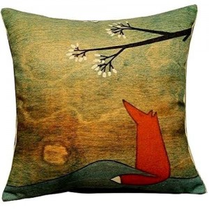 Leaveland Animal Series Cartoon Style the Lovely Fox Under the Tree Throw Pillow Case Decor Cushion Covers Square 18*18 Inch Beige Cotton Blend Linen