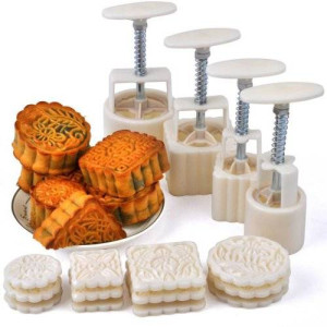 SOGNIMIEI Mid-Autumn Festival Hand-Pressure Moon Cake Mould With 12 Pcs Mode Pattern For 4 Sets