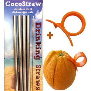 4 Stainless Steel Wide Smoothie Straws + Cleaning Brush + Citrus Peeler - CocoStraw Large Straight Frozen Drink Straw - 4 Pack + Cleaning Brush