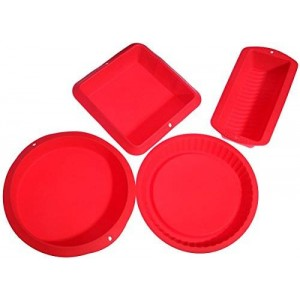 Juvale Red Silicone Bake Set - 4 High Quality Nonstick Slicone Bakeware - Round, Square, and Rectangular Shaped Loaf Pie Casserole Pan