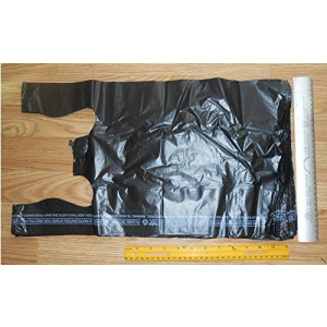 Elephant Brand Black Opaque 1/6 T-shirt Bag Large 12 X 6 X 21 100 PCS 100 Bags